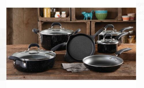 The Pioneer Woman Vintage Speckle 10 Piece Non-Stick Pre-Seasoned Cookware Set