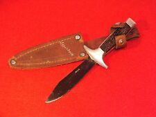 + ancien Couteau bois de Cerf dans son fourreau - souvenir de Eggishorn Suisse +