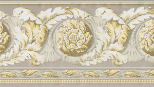 Metallic-Gold-Highlights-Medallion-Scroll-amp-Tassel-Wallpaper-Border-VT4681B