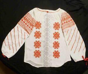 """Romanian Folk Blouse Moldova Style Diagonal Embroidery 44"""" around boho Vintage"""