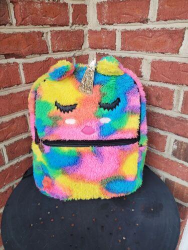 Betsey Johnson Luv Plush Rainbow Unicorn Backpack