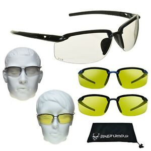 58a5e270f8 Night Vision Clear Yellow SAFETY Z87 Glasses Cycling Driving Target ...