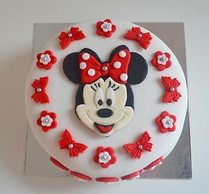 Edible Minnie Mouse Cake Topper Birthday Icing Personalised Red