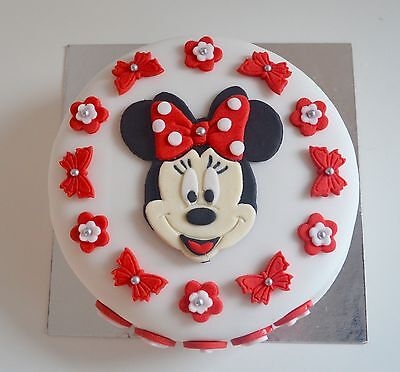Cool Edible Minnie Mouse Cake Topper Birthday Icing Personalised Red Funny Birthday Cards Online Overcheapnameinfo