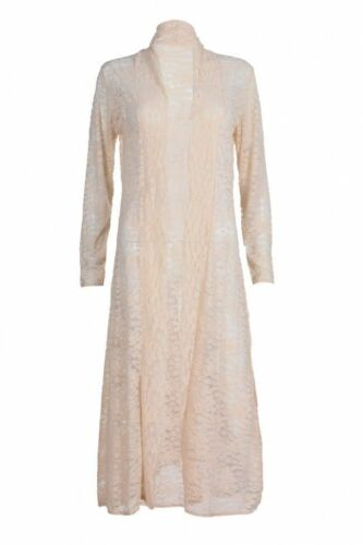 Ladies Long Sleeves Lace Front Open Women Full Length Crochet New Maxi Cardigans