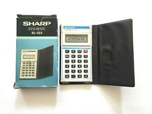 Sharp-Elsi-Mate-EL-323-Electronic-Calculator-With-Case-and-Box-Japan