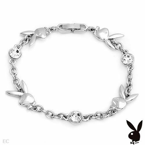Playboy Bracelet Bunny Charms Swarovski Crystals Silver Plated Chain Link Logo
