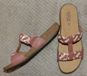 Hotter-034-Escape-034-Pink-amp-Gold-Leather-Open-Toe-Strappy-Mule-Sandals-Size-UK-8