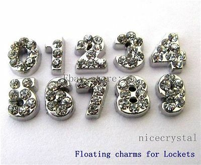 10pcs Floating numbers Floating charms For Glass living memory Locket FC069