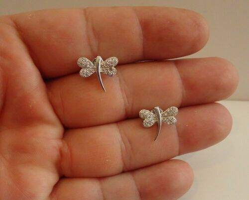 Dragonfly Boucles d'oreille avec .75 CT Labo Diamants/Argent Sterling 925/14 mm par 13