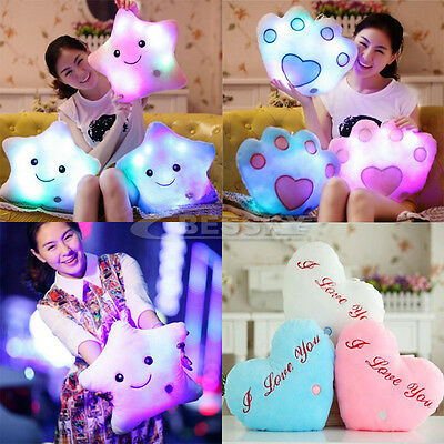 7 Color Romantic Star Shaped Glowing LED Pillow Changing Light Up Soft Cushion