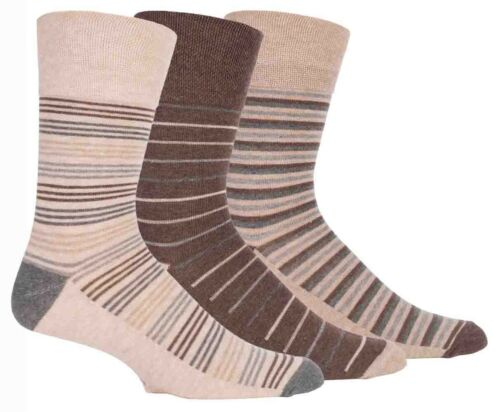 3 Paires Homme Marron à rayures gris non élastique Gentle Grip Coton Chaussettes Taille 6-11