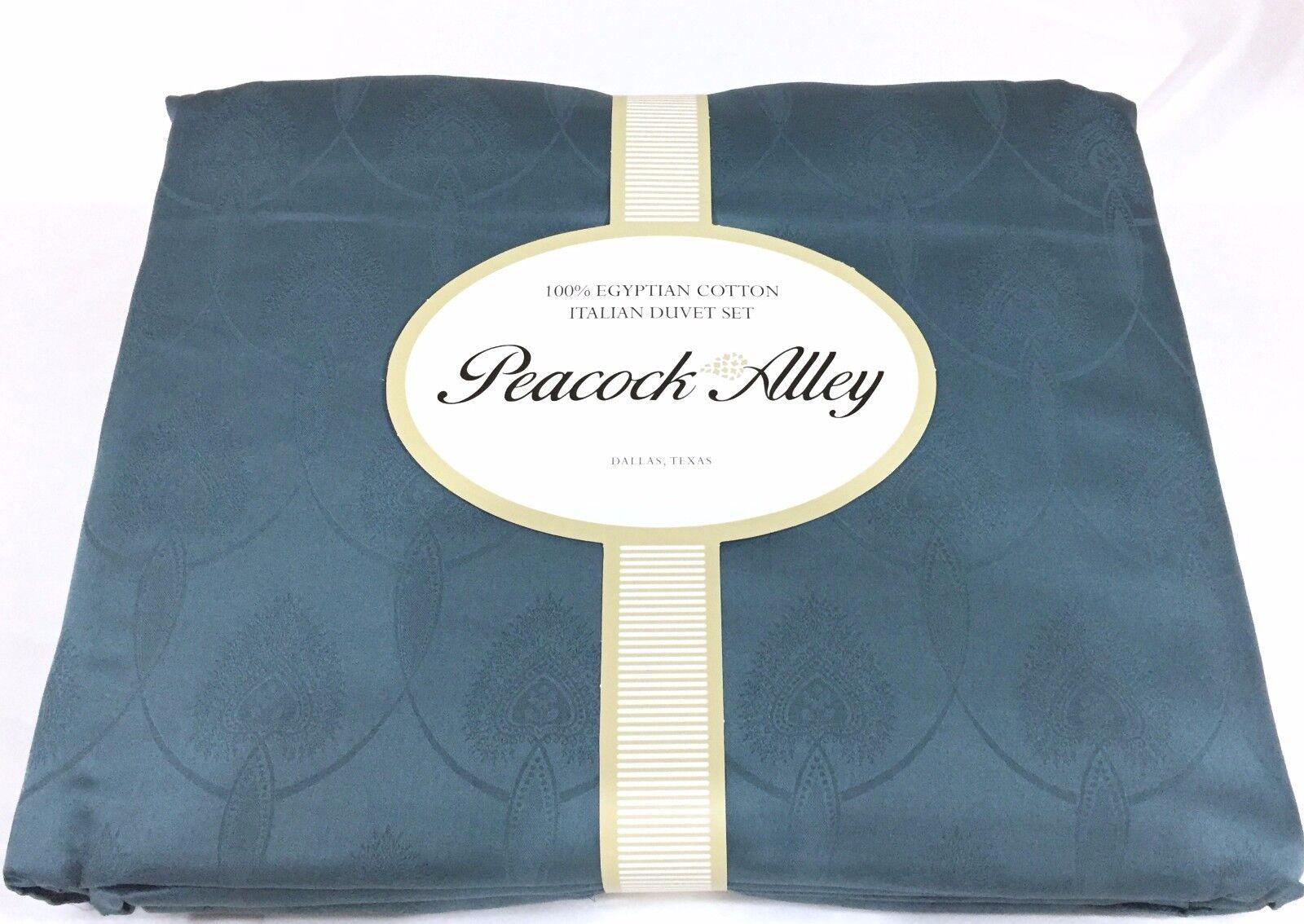 Peacock Alley LaScala Italian Duvet Cover Set Egyptian Cotton Queen Blau  1180