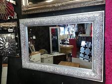 Craquelado Arco De Pared De Diseño Biselado Espejo Marco De Plata Mosaico Vidrio 90x60cm Nuevo
