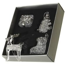 Set of 4 Assorted Clear Glass Christmas Tree Decorations – Ornaments Baubles