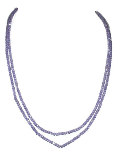 Color de Piedra Preciosa Circón Tanzanita 3-4mm Rondelle facetas granos 2 Cadena Collar