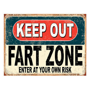 Keep Out Fart Zone enter At Your Own Risk, funny retro metal sign novelty Gift