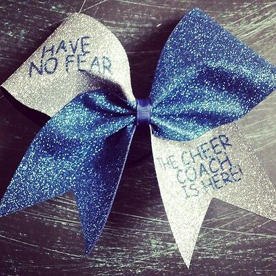 Navy and silver glitter cheer bow.