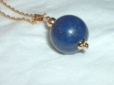 14K  AMAZING LARGE LAPIS LAUZI PENDANT  NECKLACE 18 IN
