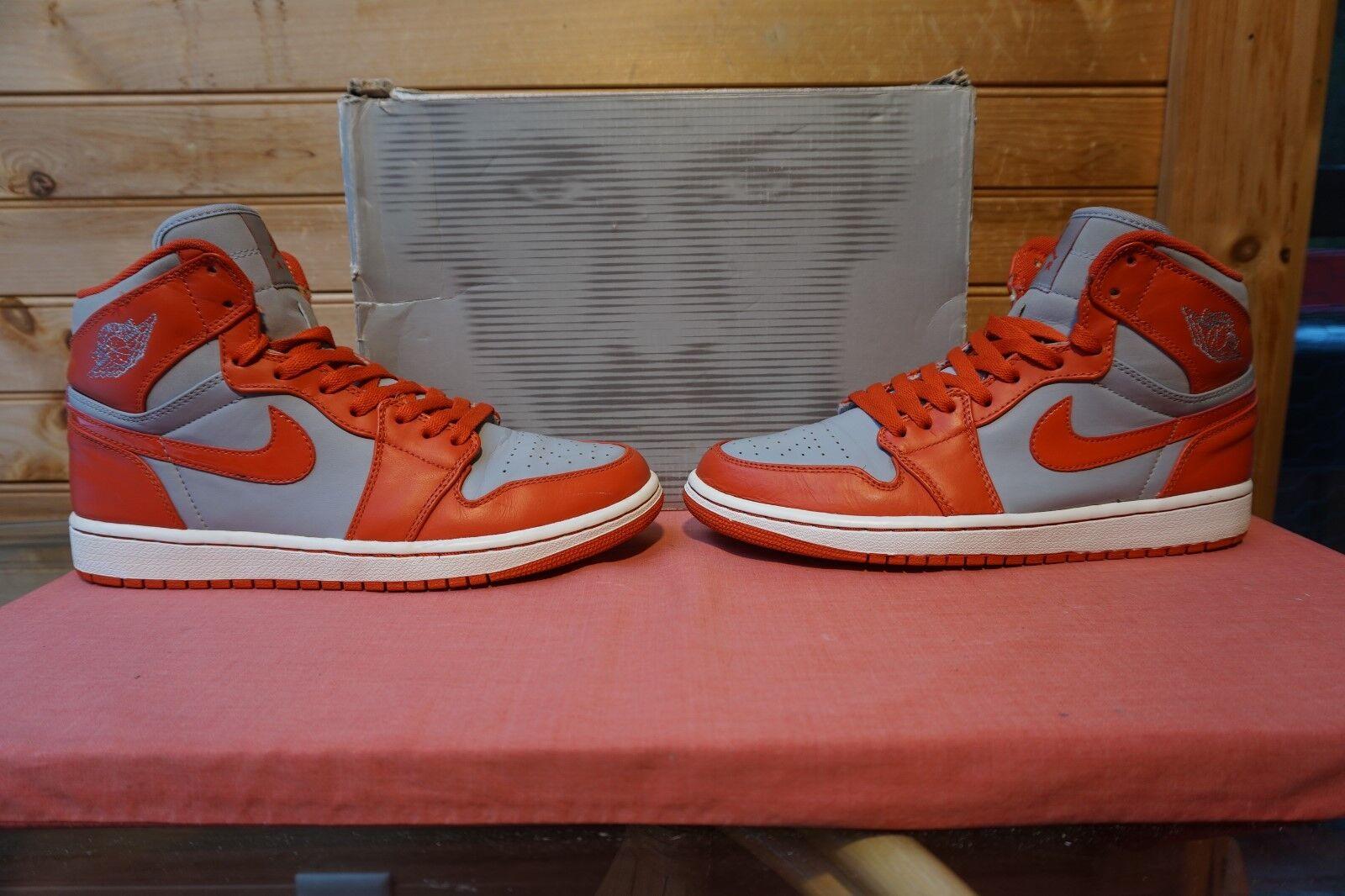 2010 Nike Air Jordan 1 Retro High Wolf Grey Spice White Sz 8 (0722) 332550-006