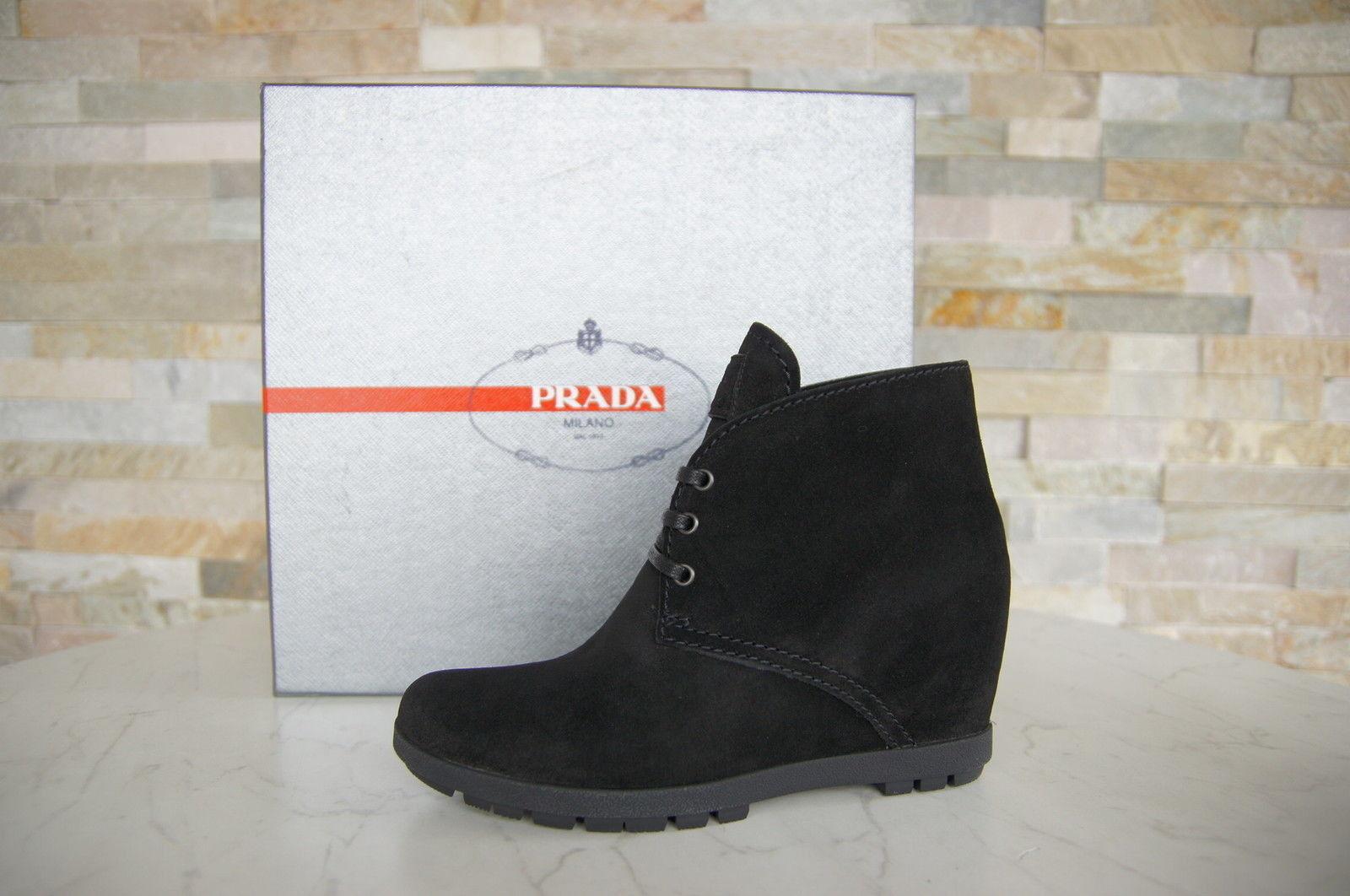 PRADA Gr 36 Stiefeletten Stiefelies Schuhe Schnürschuhe schwarz schwarz schwarz neu ehem.  10 tage rückkehr