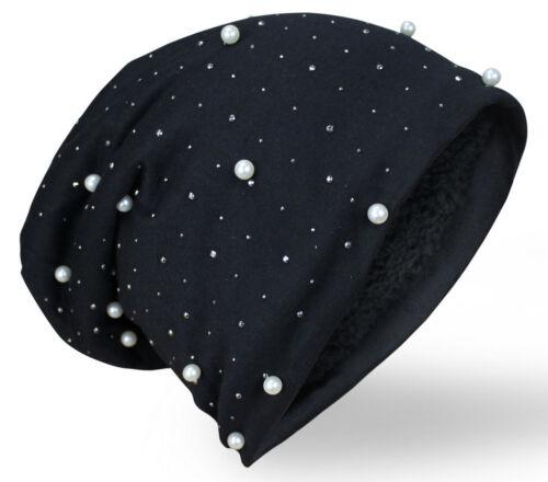 Damen Luxus Perle mit Teddyfleece Mütze Beanie Slouch Wintermütze Long Nieten
