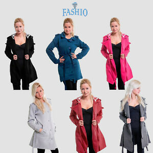 Womens-Check-Hood-Fleece-Belted-Long-Sleeve-Jacket-Jumber-Button-Coat