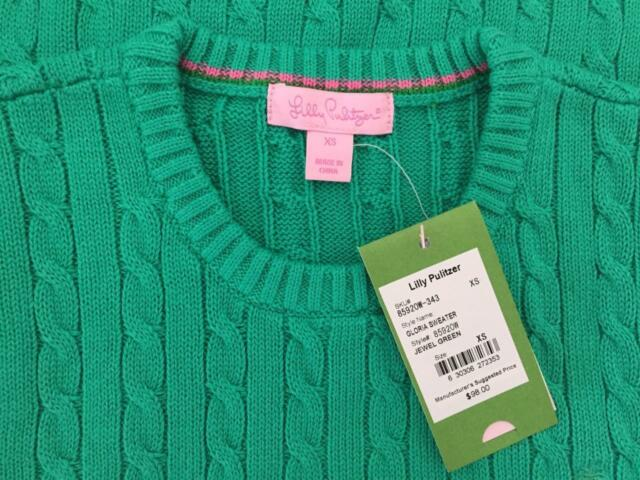 NWT $98 Lilly Pulitzer GLORIA SWEATER Green X-SMALL 0 2 XS Cable SALE ~ 80% OFF!