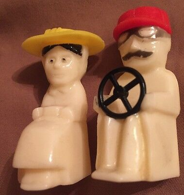 Tiny Male Driver & Female Rider plastic old timey small Salt & Pepper Set