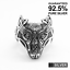 925 Sterling Silver Men/'s Celtic Wolf Head Ring ✔️Oxidised✔️Solid