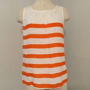 Talbots Women's Scoop Neck Tank Blouse Size 4 Petite Orange Striped Sleeveless