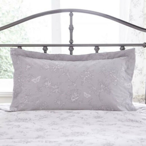 Charlotte Thomas Sheridan Floral Printed Polycotton Oxford Pillow Case Grey