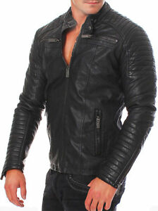 100% De Qualité Homme Noir En Cuir Véritable Veste Vintage Coupe Slim Xs-3xl Authentique Pour RéDuire Le Poids Corporel Et Prolonger La Vie