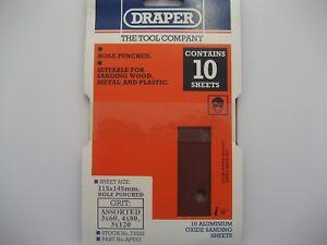 10 X Draper Assorties Grain 115 X 145mm Oxyde Aluminium Ponçage Feuilles 73522 TrèS Poli