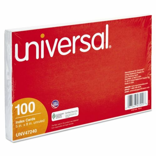 100//pack Universal Office Products 47240 Unruled Index Cards 5 X 8 White