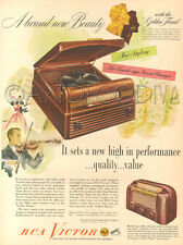 VTG 1940's RCA VICTOR Record Player Phonograph 66XI Table RADIO Music Violin Ad