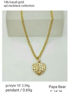 Gold-Authentic-18k-gold-heart-necklace-18-inches-chain