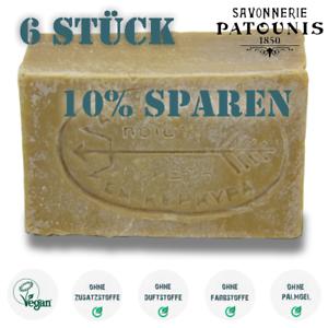 21-59-EUR-kg-6-x-Patounis-gruene-Olivenseife-Vegan-ohne-Zusatzstoffe-690gr