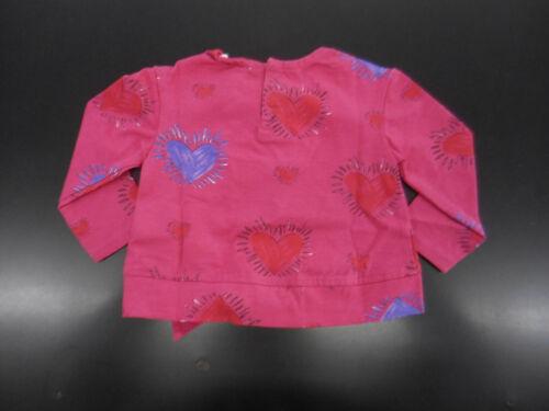 Girls Art /& Eden Pink W// Hearts Long Sleeve Shirt Sizes 3//6M 10