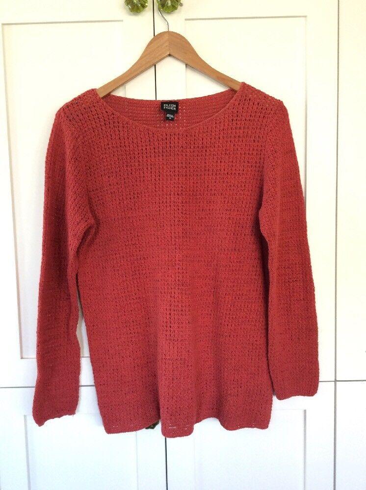 Eileen Fisher M Rust orange Fall Sweater Open Weave Weave Weave 3 4 Sleeve Medium Pristine  32ba4c