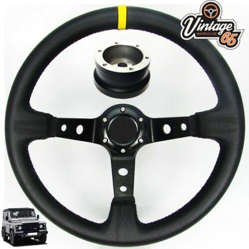 Horn /& 17mm Boss Fitting Kit Classic Land Rover Deep Dish Vinyl Steering Wheel
