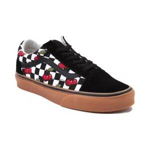 f2d082996723 New Vans Old Skool Cherry Chex Skate Shoe Black Checkerboard Womens ...