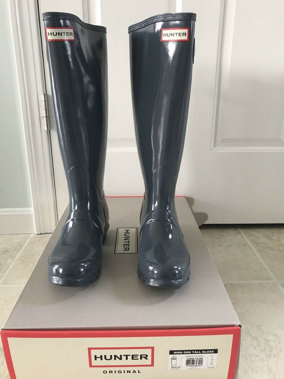 Woman's Hunter Boots Size Size Size 5 Gloss Graphite Tall 98d3a4