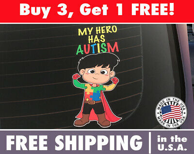 Universal MY HERO HAS AUTISM Decal Sticker Car Truck Window Decals White wangf