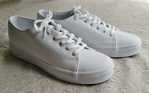 keds womens 10m shine white leather sneakers shoes lace up