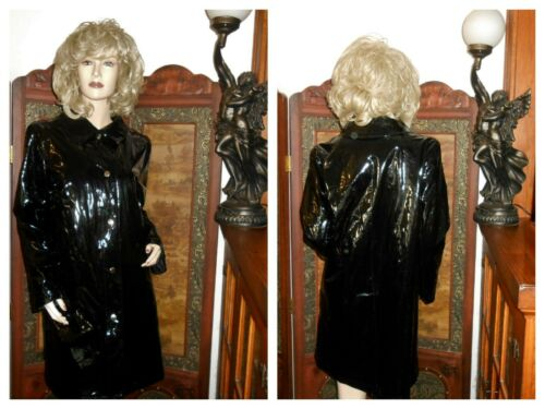 M Michael Kors Shiny Black pvc Raincoat patent Tre