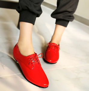 Womens-Lace-Up-Flats-Oxfords-Shoes-Pointed-Toe-Patent-Leather-Ladies-Plus-Size
