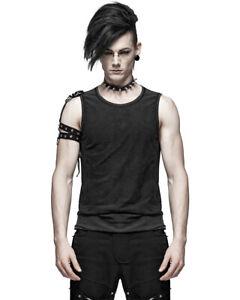 Punk-Rave-Mens-dieselpunk-Camiseta-sin-mangas-Chaleco-Camiseta-sin-mangas-con-aspecto-envejecido