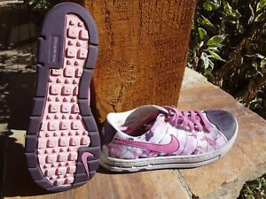 Image is loading NIKE-WOMENS-ACG-PINK-CAMOUFLAGE-TENNIS-SHOES-SNEAKERS- c10ffb1a14fc