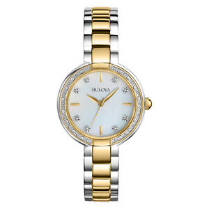 Bulova-Women-039-s-98R172-Aracena-Diamond-Accent-Two-Tone-Bracelet-29mm-Watch